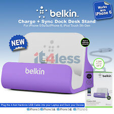 Belkin Charge + Sync Dock Desk Stand for iPhone 5S / 5C & 5 Data Transfer Purple