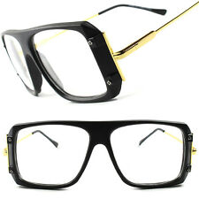 Matte Black Vintage Retro 80's Large Oversized Square Hip Hop Clear Lens Glasses