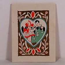 Vintage Valentine's Day Card 1930's Girl and Boy Embossed Used No Reserve