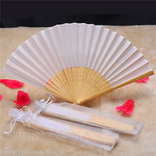 16pcs White Folding Elegant Silk Hand Fan with Gift bag  Wedding&Party  Favors