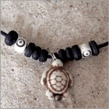 TURTLE PENDANT CORD CHARM NECKLACE WHITE STONE SURFER BEACH WOMEN GIRL BOY