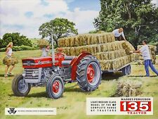 MASSEY FERGUSON 135 MF135 TRAILER AND HAY BALES OLD FARM SCENE METAL WALL SIGN