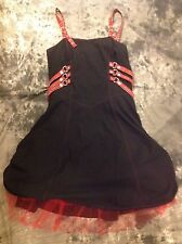 Lip Service Sz. 14 XL Black Dress Stretch Plaid Straps Buckles Red Petticoat EUC