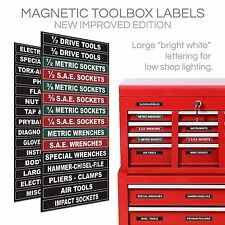 30 Piece Magnetic Tool Box Organization Labels. Sticker Magnet Garage Drawer Pac