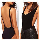 Womens Black Backless* Cut Out Stretch Bodysuit Party Leotard Bralet Top