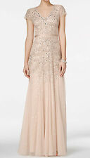 Adrianna Papell Cap-Sleeve Embellished Gown Love Story Doe Beige Sz:12   #Q13