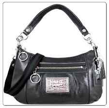 Auth. Coach Poppy Classic Black Leather Groovy Shoulder Swing Bag (Very RARE!!)