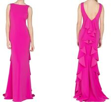 NEW BADGLEY MISCHKA $759 PINK ODESSA RUFFLE BACK EVENING GOWN DRESS SZ 16