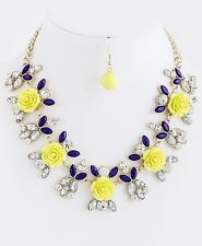 D27 Yellow & Purple Crystal Acrylic Flower Necklace Earring Set Boutique