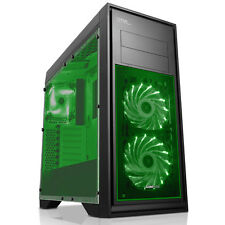 Juego Max Titan Mid Tower Pc Gaming Funda Ventana X 2 Ventiladores Usb 3.0 Negro / Verde Led