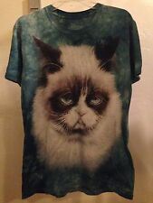 EUC Tie Dye Green Blue Unisex Small T Shirt The Mountain Grumpy Cat Funny Meme