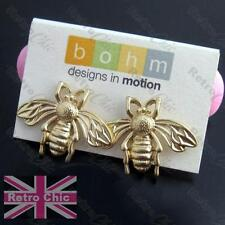 QUIRKY BEE STUD EARRINGS vintage brass matt gold 2CM BIG STUDS insect bees wings