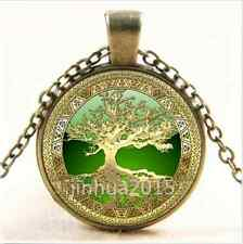 NEW Vintage Celtic Gold/Green Tree Of Life Glass Cabochon Bronze Chain Necklace/