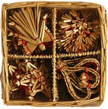 Scandinavian Straw Christmas Ornaments 24 pc Basket Stars Angels Hearts #590