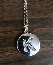 "SILVER INITIAL ""K"" NECKLACE WITH CUBIC ZIRCONIA STONES LOBSTER CLAW CLOSURE 9"""