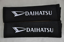 Black Daihatsu Embroidery Seat Belt Cover Shoulder Pad Cushion Pair