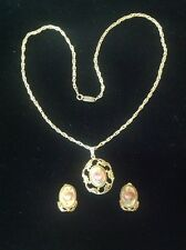 """Vintage Whiting & Davis Art Glass 22"""" Necklace/Pendant and Clip Earring Set"""