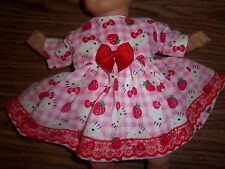 "Doll Clothes 14 15"" inch Bitty Baby Hello Kitty Strawberry dress diaper"