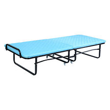 Folding Bed Foam Mattress Twin Roll Away Guest Portable Sleeper Cot Bedroom Blue