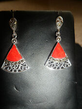 New red coral and marcasite fan shaped silver drop earrings with butterfly backs