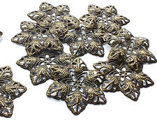 10 x Bronze tone Filigree Flower Stamped Embellishment Decoration Charm Craft