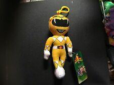 """OFFICIAL POWER RANGERS YELLOW 7"""" PLUSH KEYRING KEYCLASP NEW TAGS"""