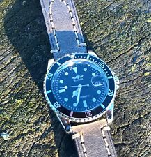 James Bond automatic Submariner military diver style watch leather strap