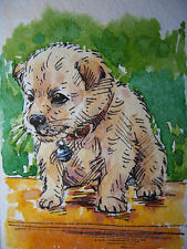 New White Dog Puppy Terrier Newborn Home Pet Animals Collectible ACEO Art Card