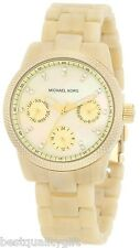 MICHAEL KORS RITZ HORN+GOLD TONE+MOP CHRONO+CRYSTAL,DAY,DATE DIAL WATCH-MK5400