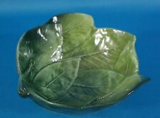 Italy Green Leaf Majolica Pottery Footed Dipping Bowl
