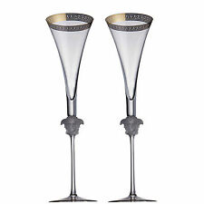 "VERSACE BY ROSENTHAL,GERMANY  ""D'OR""  CHAMPAGNE FLUTE 2 PC'S SET, 12 INCH TALL."