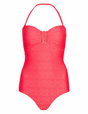 BNWT M&S Red Crochet Bandeau Secret Slimming Swimsuit Swimming Costume Size 16