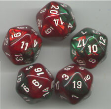 RPG Dice Set of 5 D20 - Chessex Gemini Green-Red