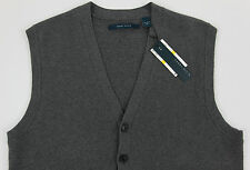 Men's PERRY ELLIS Gray Grey Cotton Cardigan Sweater Vest 2X 2XL 2XB NEW NWT Wow!