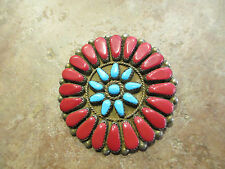 Rare OLD Zuni Silver Petit Point RED CORAL & Turquoise Pendant & Pin  1920's-40s