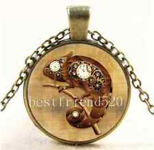 Vintage Steampunk Chameleon Cabochon Glass Bronze Chain Pendant  Necklace