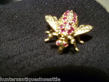 Estate 14K Yellow & White Gold Bee Pin with Ruby's & Diamonds By L.A.B.