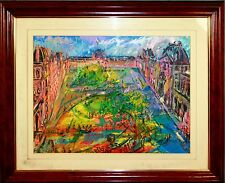 LOUVRE SQUARE. MIXED MEDIA ON PAPER. SIGNED JOAN ABELLÓ. SPAIN. CIRCA 1950.