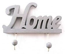 """NEW """"HOME"""" CUTOUT WOODEN HAND CRAFTED WALL HAT/COAT GREY 2*HOOK RACK 21CM"""