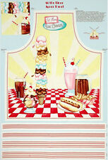 "Diner Eat Fast Food Cotton Fabric 30""X44"" Wilmington 33753 Cut & Sew Apron Panel"