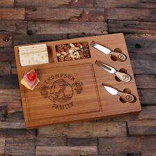 Personalized Bamboo Wood Cutting Bread Cheese Serving Tray Board with Tools – 3