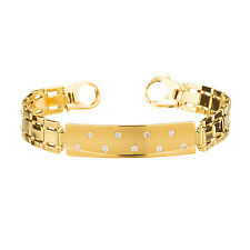 14kt Yellow Gold Diamond Mens ID Bracelet 0.20ct TDW 22.45 Grams