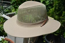 Fisherman Cowboy Crushable Wide Brim Hiking Mesh Hat Sun Cap Vented Khaki L/XL