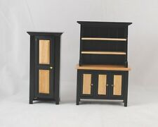 Black & Oak Kitchen Hutch & Pie Safe T5975 & T5974 dollhouse wood 1/12 scale 2pc