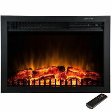 """Freestanding 23"""" Electric Fireplace Tempered Glass Logs Insert w/ Remote Control"""
