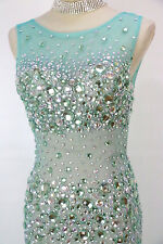 NWT Jovani Size 2 Prom Formal Green $500 Sleeveless Gown Evening Long Mermaid