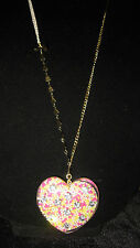 BETSEY JOHNSON CANDY LARGE HEART LONG NECKLACE