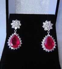 DESIGNER RUBY & WHITE SAPPHIRE EARRINGS ~ WHITE GOLD over 925 STERLING SILVER