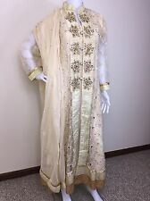 Pakistani Indian Designer Wedding gown cream Golden Salwar Kameez M