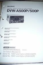 Operation Manual für Sony DVW-A500P/500P  ,ORIGINAL